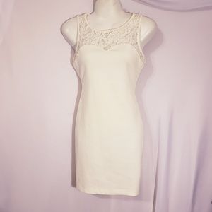 Poetry white lacy form fitting dress Small